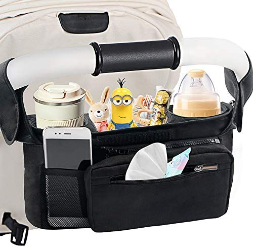 Mestron Universal Stroller Organizer Bag with Insulated Cup Holder Detachable Zippered Bag Adjustable product image