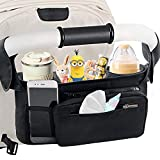 Mestron Pram Buggy Organiser Bag & Pram Organiser Bag Stroller Organizer with Detachable Pocket, Mobile Phone Pocket, 2 Insulated Cup Pockets & Shoulder Strap Pushchair Organiser