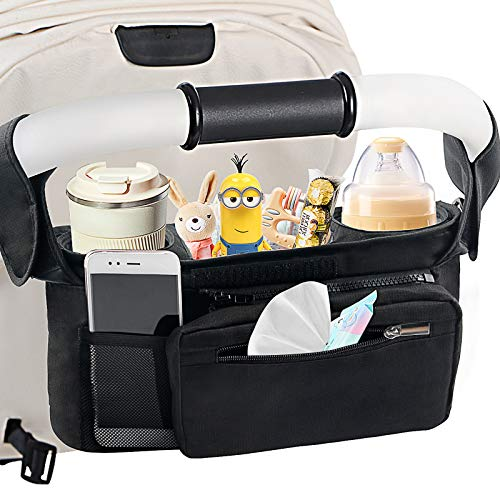 Mestron Universal Stroller Organizer Bag with Insulated Cup Holder-...