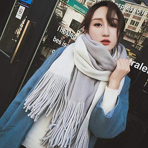 GO&FL Krawattenschal mit Quaste, für Damen, Herbst und Winter, dick, doppelseitig, vielseitig gestreift, zweiseitig verwendbar, warme Farbe, passender Schal, Hellgrau und Buff, 200 x 55 cm