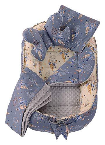 5tlg. Kuschelnest-Set inkl Babynest 90x50 herausnehmbarer Einsatz Flachkissen Krabbledecke Schmeterrling-Kissen Medi Partners für Babys 100% Baumwolle (Traumfänger mit grauen Minky)