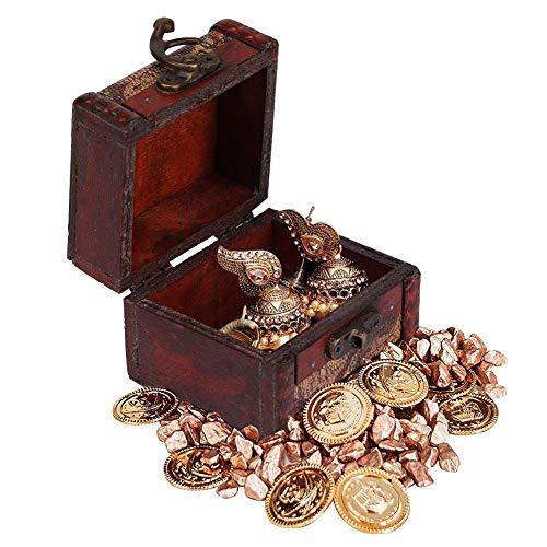 Oumij Sieraden Box Vintage Square Sieraden Opbergdoos Handgemaakte Houten Decoratieve Display Case Ketting Verpakking Geschenk voor Meisjes Vrouwen