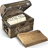 Wooden Recipe Box With Cards & Dividers - 50 Double Sided 4x6 Recipe Cards Included - 6 Wood Dividers - Premium Handcrafted Quality - Ideal Gift - Wedding, Birthday, Anniversary, Mother's Day