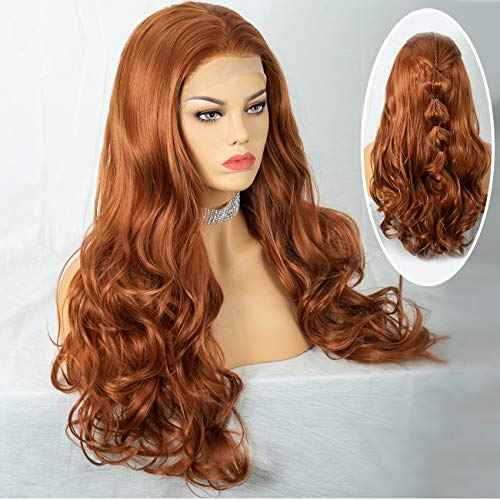 Cosswigs Long Orange Lace Front Wig for Women Long Wavy Synthetic Ginger Wigs with Baby Hair Heat Resistant Fiber 24inches