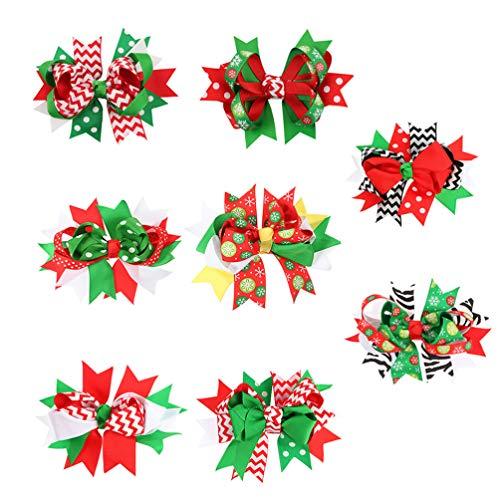 Lurrose 8 clips para el pelo de Navidad, cinta de grogrén con lazo, para mujeres y niñas