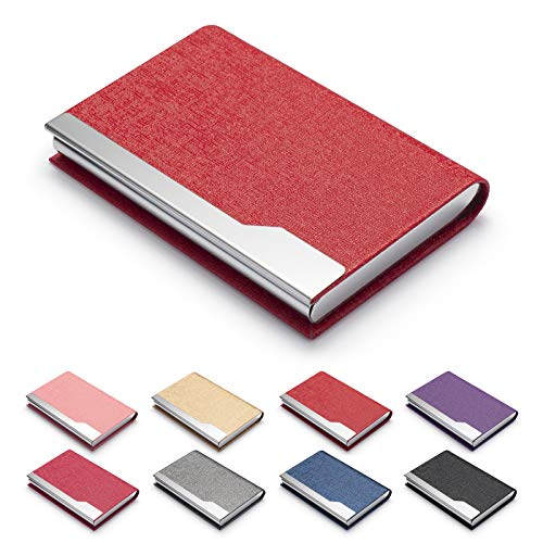 FACATH Business Card Holder Case - Luxury PU Leather Name Card Holder & Stainless Steel Multi Card Case, Slim Metal Pocket Card Holder Wallet Credit Card ID Case/Holder with Magnetic Shut - Red