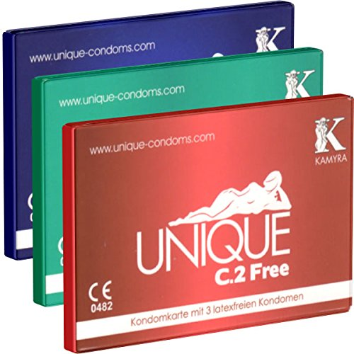 KAMYRA Unique C.2 Kondomkarten-Test-Set (je 1 x PULL, FREE, SMART), latexfreie Kondome