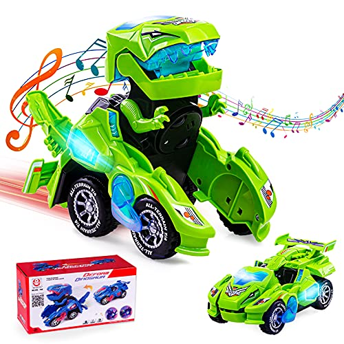 Ltteaoy Dinosaurier Transformable Auto Transformers Spielzeug mit LED Licht, Musik und 360 ° Universalrad, Kinder Lernspielzeug für 4-8 Jahre Jungen Mädchen, Geburtstag Weihnachten Geschenke (Grün)