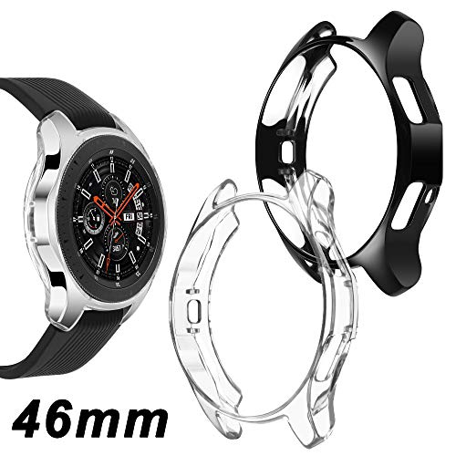 Goton Compatible Samsung Galaxy Watch 46mm Case 2018 ( for SM-R805 and SM-R800 and Gear S3 Frontier SM-R760 ) , (2 Packs) Soft TPU Smart Shockproof Case Cover Bumper Protector (Clear and Black, 46mm)