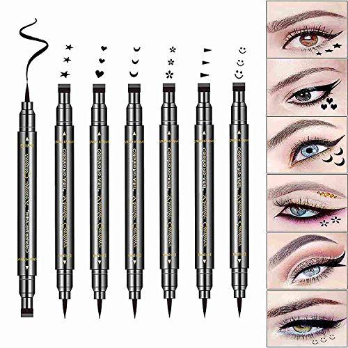 Sumeitang 6 Pcs Liquid Eyeliner Black Long Lasting Waterproof & Smudgeproof Durable Double-Headed Stamp Pattern Eyeliner Makeup Tools(Star,Moon,Winged,Heart,Flower,Smiley)