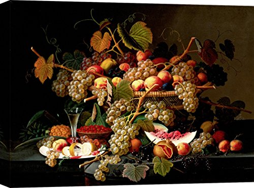 Art Print Cafe – Decoration Murale, Tableau de Severin Roesen, Nature Morte avec Fruits – Impression sur Toile 120x90 cm