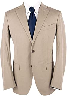 Mil Easy Tan Cotton Twill Half Lined Vented Flat Front 2Btn Suit 42R