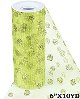 BalsaCircle 6-Inch x 10 Yards Apple Green Glittered Polka Dot Net Tulle Fabric by The Bolt - Sewing Craft Wedding Favors Supplies