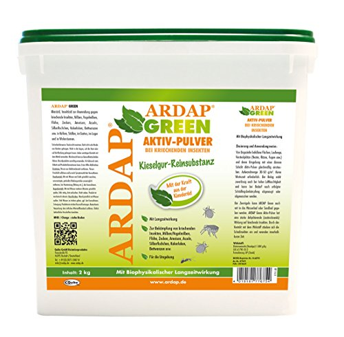 ARDAP GREEN Aktiv Pulver 2kg - 100% reine Kieselgur gegen rote Vogelmilben, Bettwanzen & kriechende Insekten - Für Haushalt, Hühner & Tierhaltung - im 10 Liter Eimer