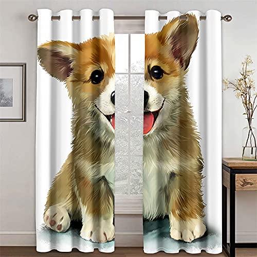 YUNSW Cortinas De Perro De Dibujos Animados Realistas En 3D para Cortinas Opacas Y De Aislamiento Térmico para Sala De Estar Y Dormitorio, Juego De 2 (Total Width) 140x(Height) 160cm