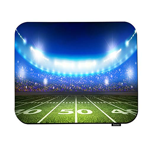 Swono Football Field Mouse Pads Night Floodlight American Football Stadium Mouse Pad for Laptop Funny Non-Slip Gaming Mouse Pad for Office Home Travel Mouse Mat 7.9'X9.5'