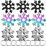 9 Pack 18-in-1 Snowflake Multi Tool, Stainless Steel Snowflake Multi Tool Bottle Opener/Wrench/Screwdriver, Durable and Easy to Take,Three Colors