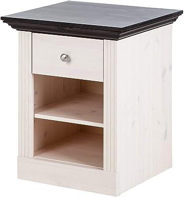 Steens Monaco / 31700113 Table de chevet Blanc/marron foncé 62 x 56 x 46,5 cm