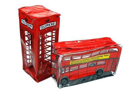 Transparante potlood/accessoires hoesjes in de vorm van London Red Bus en Telefoon Box (2 Qty)