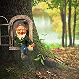 Elf Out The Door Tree Hugger - Fairy Tree Peeker Hugger Garden Ornament Tree Decoration Novelty Outdoor Figure Garden Peeker Yard Art - Tree Sculpture Garden Decoration(Garden Gnomes)