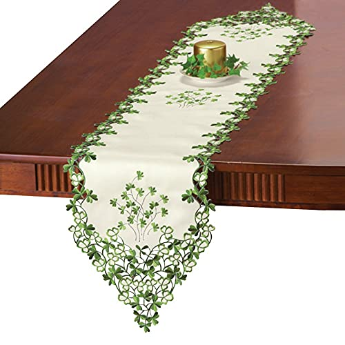 Collections Etc Embroidered Irish Clover Table Linens,...