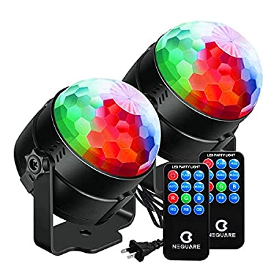 NEQUARE Party Lights Sound Activated Disco Ball Strobe Light 7 Lighting Color Disco Lights with Remote Control for Bar Club Party DJ Karaoke Xmas Wedding Show and Outdoor [2-Pack] by Nequare