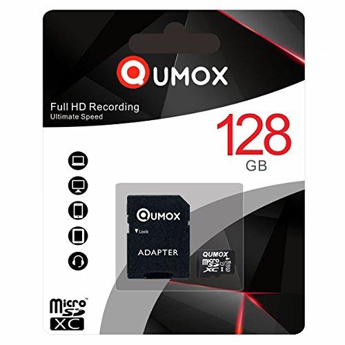 QUMOX 128GB Micro SD SPEICHERKARTEN Class 10 UHS-I 128 GB High Speed Geschwindigkeit 30MB schreiben/s Lesegeschwindigkeit bis zu 80 MB/S