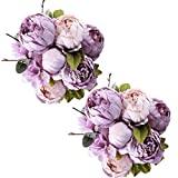 Fule 2 Pack Large Artificial Peony Silk Flower Bouquets Arrangement Wedding Centerpieces (New Purple)