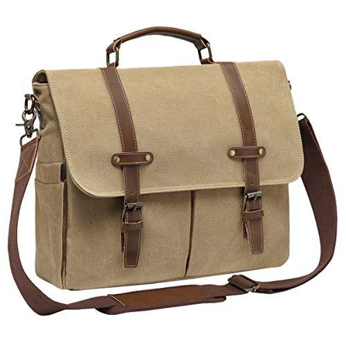 Messenger Bag, Kasgo Mens Water-Resistant Canvas Laptop Satchel Bag Briefcase Padded Shockpoof 15.6 inch Shoulder Bag for Work Khaki
