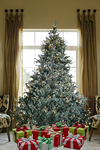 XmasBuddy 7.5 FT PRE-LIT Premium 1600 Realistic Branch Tips/Pines Spruce HINGED Artificial Christmas Tree with 600 LED Lights and Stand