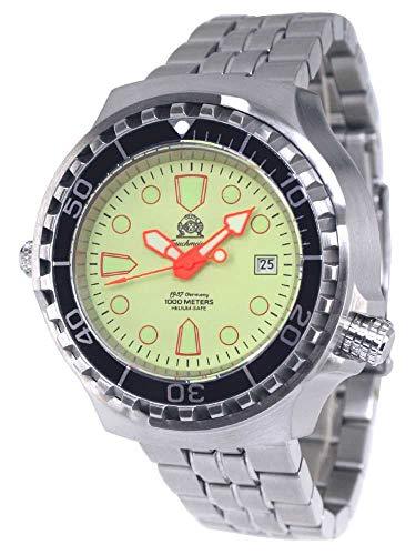 Tauchmeister Reloj automático profesional T0228M, 100 atm, correa de acero inoxidable de 46 mm