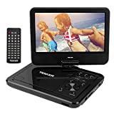 TENKER 10.5' Portable DVD Player with Swivel Screen, 3 Hours Rechargeable Battery with SD Card Slot and USB Port (Black)
