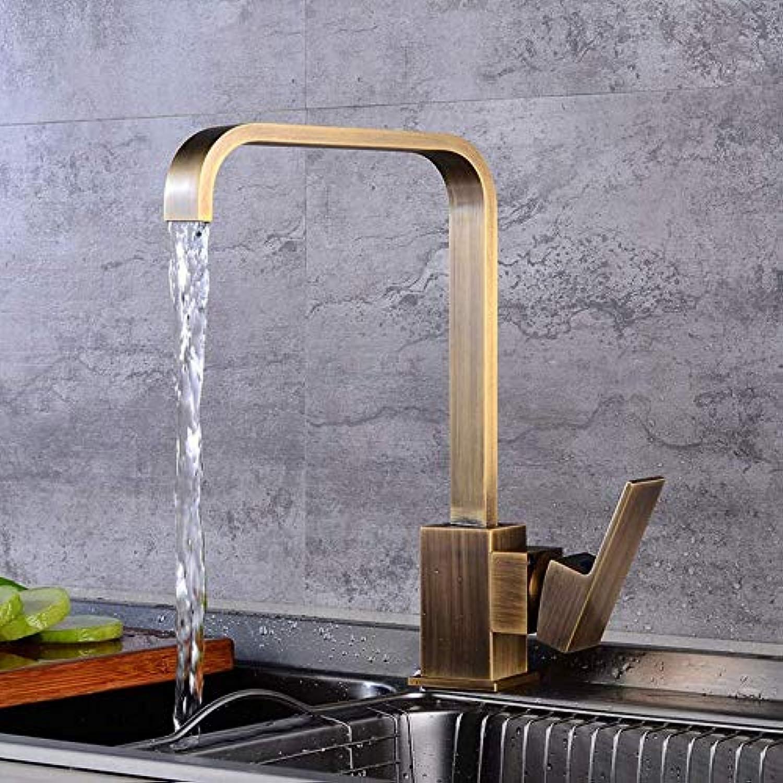 Wasserhahn Küchenarmatur, 360 Grad Antike Messing Küchenarmatur Kaltes Warmwasser Küchenmischbatterie Vintage Spüle Wasserhahn