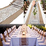 Adkwse Jute Tischläufer, Tischdecke Spitze Rustic Burlap Juteband für Hochzeit Festival-Ereignis Tischdekoration 30 x 275cm - 7
