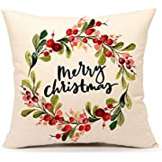 4TH Emotion Christmas Quotes Throw Pillow Cover Cushion Case 18 x 18 Inch