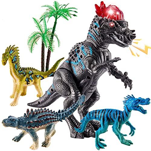 TOEY PLAY Dinosaurios Juguetes Figuras con Luz y Sonido Pachycephalosaurus Velociraptor Realista Animales Educativo Juguetes para Niños Niñas 3 4 5 6 Años