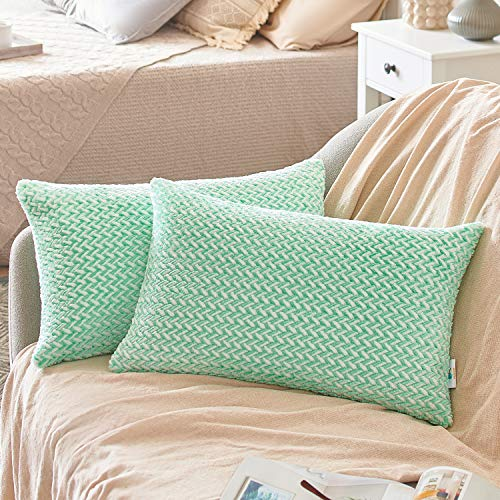 PAULEON Throw Pillow Covers 12x20 – Spearmint and White, Set of 2 – Fluffy Fiber - Сhevron Pattern - Decorative Cushion Cases – Perfect for Couch, Sofa, Bed, Accent Pillows