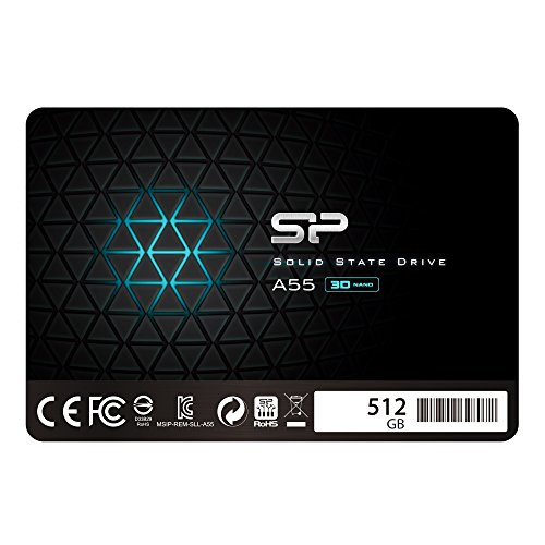 Silicon Power SSD 512GB 3D NAND A55 SLC Cache Performance Boost 2.5 Pollici SATA III 7mm (0.28