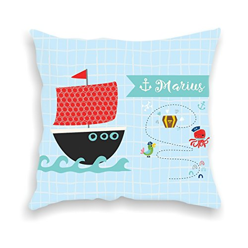 wolga-kreativ Kissen-bezug Deko-Kissen Schiff Piratenschiff 40x40 cm incl. Füllung Namenskissen Geschenk-e Baby-Kissen Kinder-Kissen Kinderzimmer Babyzimmer Mädchen Junge-n mit Namen (flauschig)