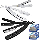 2 Pack Barber Straight Razors Straight Edge Shaving Razors Men Manual Shaver with 100 Pieces Double Edge Blades for Salon Barber, Black and Silvery