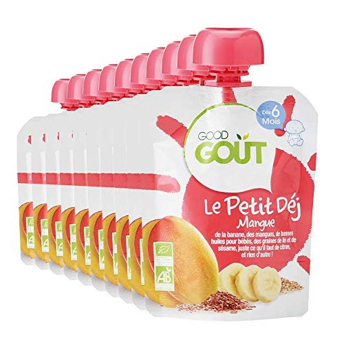 Good Goût - BIO - Gourde Petit Déj Mangue Dès 6 Mois 70 g - Pack de 10