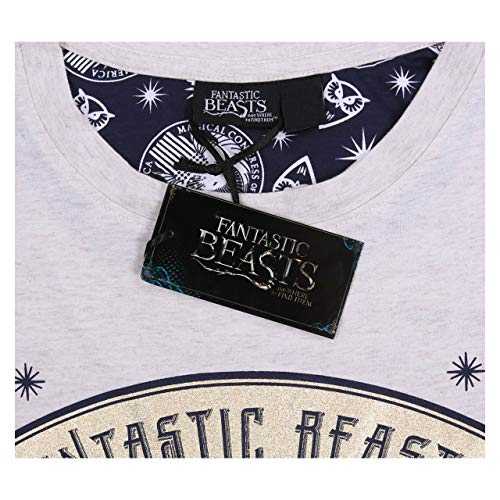 Fantastic Beasts And Where To Find Them Beige/Navy Blue Ladies Pyjama Set S