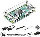 Digitalkey - Kit 7 en 1 para Raspberry Pi Zero & Zero W con disipador + juego de cables + adaptador HDMI + GPIO Header, color transparente