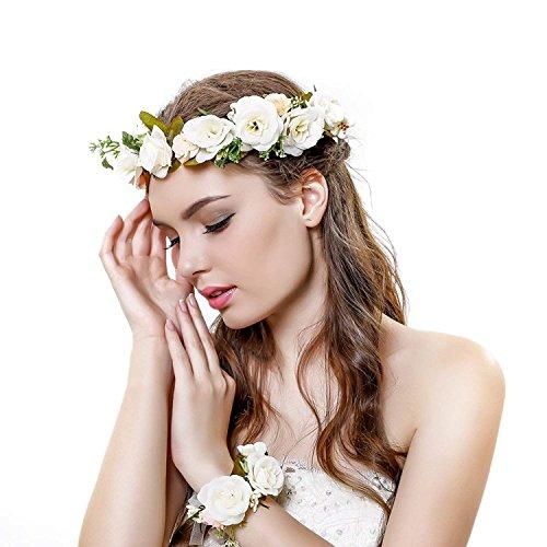 Ever Fairy - Corona per capelli da sposa, con corona di fiori e corone da sposa, stile rustico, Corona di fiori - E, Etichettalia unica