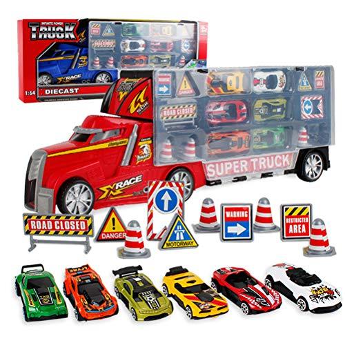 Borstu Vehículos, automóviles, Juguetes, Transporte, automóviles de Juguete fundidos a presión, contenedores, Juguetes para niños con 6 Mini Autos, 10 señales de tráfico para niños y niñas.