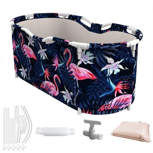 Bañera plegable portátil, bañera grande impermeable para adultos y niños (flamenco)
