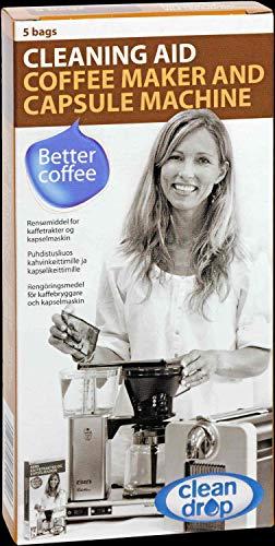 Clean Drop Reinigungsmittel | 5 Beutel für 5 Anwendungen | Flüssigreiniger | Für Moccamaster-Filterkaffeemaschinen | Für milde und effektive Reinigung