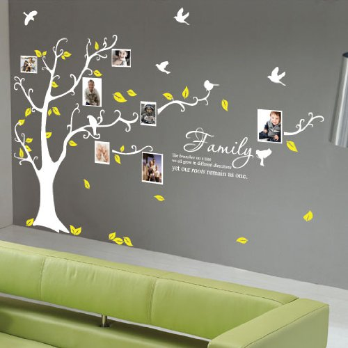 Large Family Tree Birds Quote Wall Art / Wall Stickers / Wall Decals Bedroom Living room Wall Stickers-White by amazing sticker