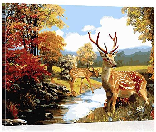 VIKMARI Gerahmte Farbe nach Zahlen Kits für Kinder, DIY Malerei nach Zahlen mit Rahmen Sika Deer Farbe nach Zahlen für Erwachsene mit 3X Lupe und Bürsten 16x 20 Zoll (gerahmt)