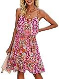 PRETTYGARDEN Women's Summer Spaghetti Strap Dresses Floral Print Crewneck Sleeveless Ruffle Mini Short Dress with Belt (Pink, Small)
